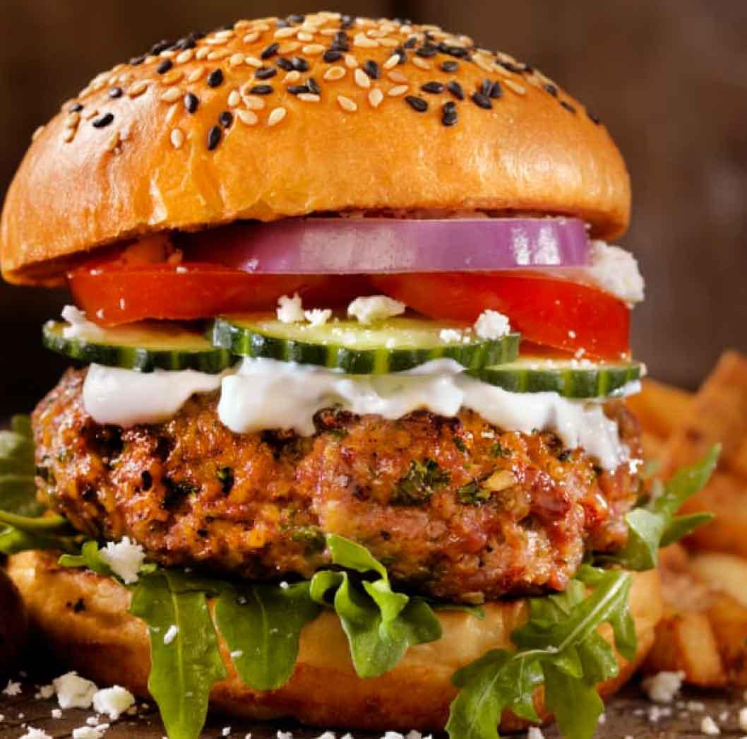 Gourmet Lamb and Cheese Burger
